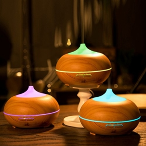 Aroma Diffuser, Anypro 300ml Holzmaserung luftbefeuchter mit farbenwechselnde elektrisch Duftlampe -