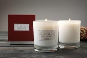 Duftkerze, Sandelholz & Johannisbeere, 100% Sojawachs Glas Kerze, Angenehmer Duft, Geschenk Kerze, 230gr -